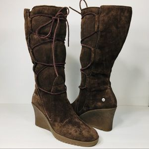 Ugg Australia Elsey Shearling Wedged Boots 8